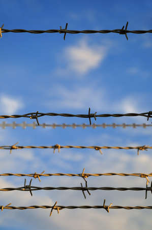 Barbed wire  Part of a fence with barbed wire under a blue sky Stock Photo - 11474896