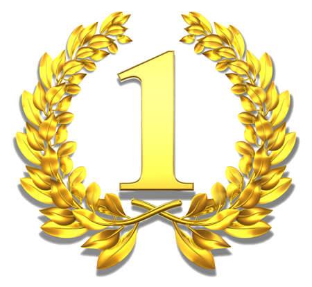 reputation: Congratulation one Golden laurel wreath with number one inside  Stock Photo