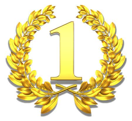 laureles: Enhorabuena una corona de laurel de oro con el n�mero uno en el interior Foto de archivo