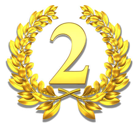 Congratulation two Golden laurel wreath with number two inside  photo
