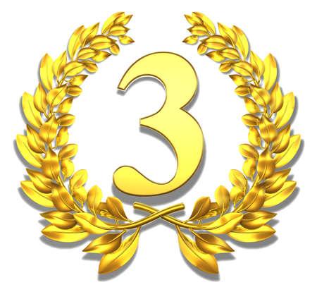 Congratulation three Golden laurel wreath with number three inside