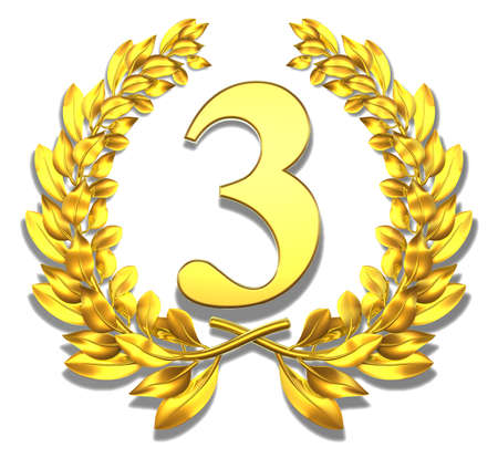 number three: Congratulation three Golden laurel wreath with number three inside