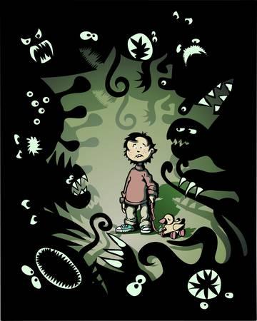 El miedo Ilustración de un niño de poco temeroso rodeado de monstruos de fantasía
