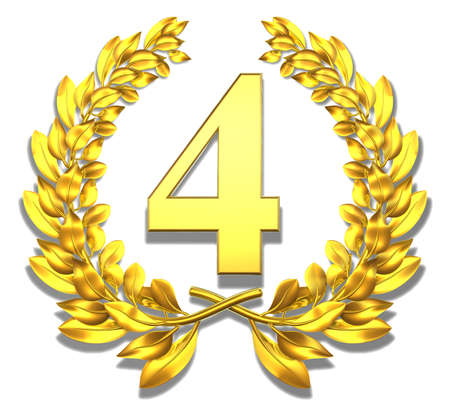 Number four Golden laurel wreath with the number four inside  photo