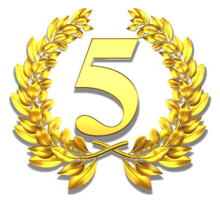 Num�ro cinq d'or couronne de laurier avec le num�ro cinq � l'int�rieur