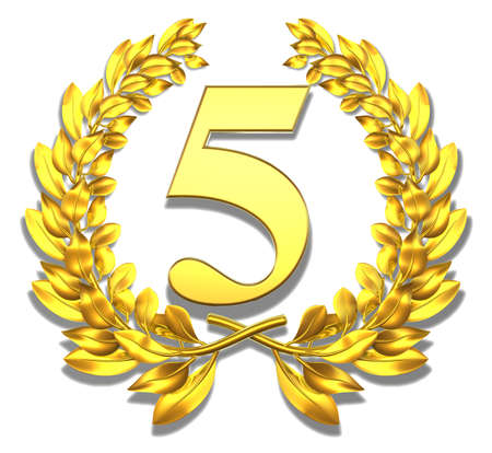 Number five Golden laurel wreath with number five inside
