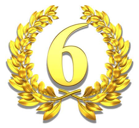 number 6: Number six Golden laurel wreath with the number six inside
