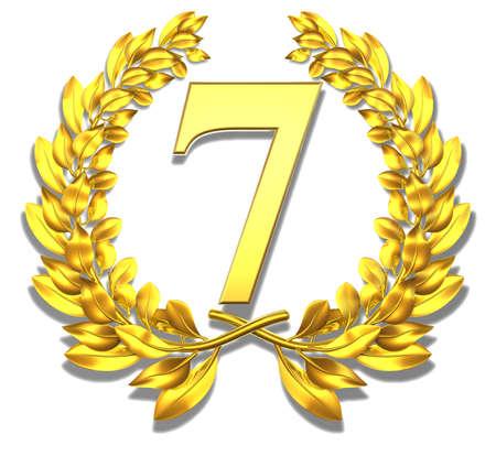 seven years: Number seven Golden laurel wreath with the number seven inside