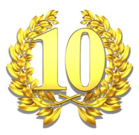 Num�ro dix d'or couronne de laurier avec le num�ro dix � l'int�rieur Banque d'images