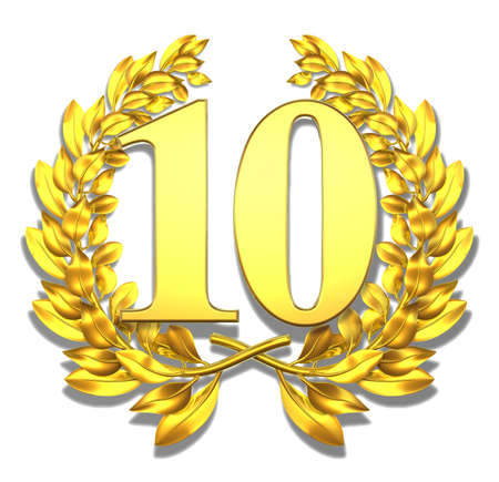 10 years: Number ten Golden laurel wreath with the number ten inside