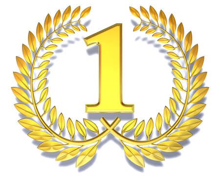 Congratulation one Golden laurel wreath with number one inside  Stok Fotoğraf