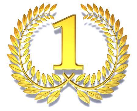 numero uno: Enhorabuena una corona de laurel de oro con el n�mero uno en el interior Foto de archivo