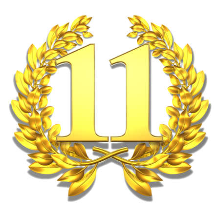Number eleven Golden laurel wreath with the number eleven inside  photo
