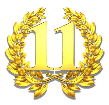 11: Number eleven Golden laurel wreath with the number eleven inside