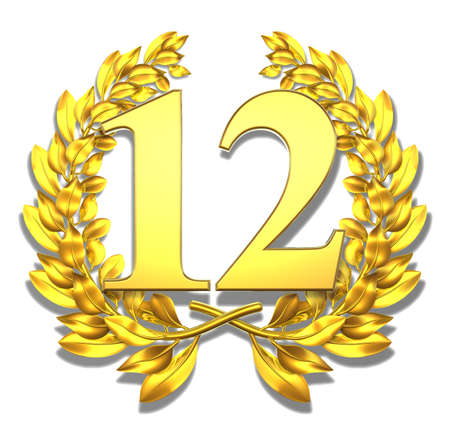 Number twelve Golden laurel wreath with the number twelve inside  photo