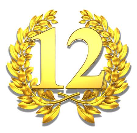 12: Number twelve Golden laurel wreath with the number twelve inside