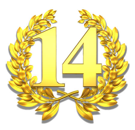 Number fourteen Golden laurel wreath with the number fourteen inside  photo