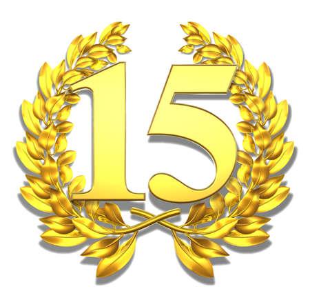 Nombre quinze Or couronne de laurier avec le nombre quinze � l'int�rieur