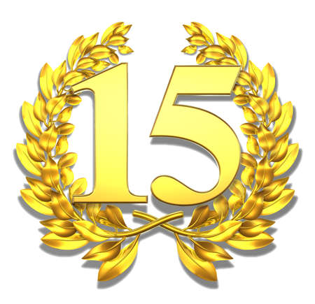 15: Number fifteen Golden laurel wreath with the number fifteen inside