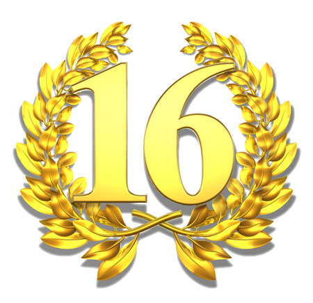 number 16: Number sixteen Golden laurel wreath with the number sixteen inside