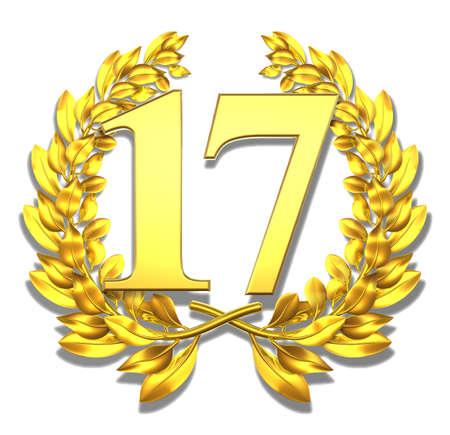 Number seventeen Golden laurel wreath with the number seventeen inside  photo