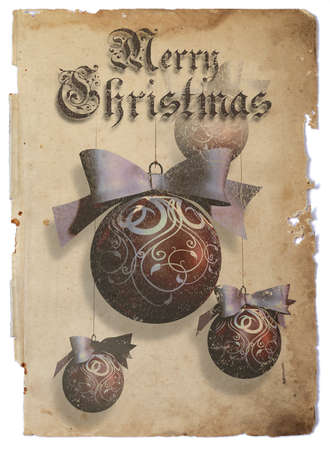 Christmas baubles  One big and three small Christmas baubles over vintage paper  photo