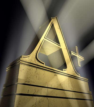 remuneraci�n: Calificaci�n de A, m�s el s�mbolo de clasificaci�n A, adem�s de oro sobre un pedestal de oro