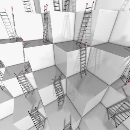 ascend: Ascent or descend Illustration of a group of white blocks with a lot of ladders against their walls  Stock Photo