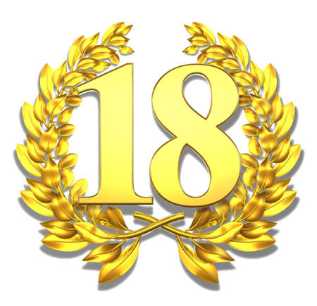 18: Number eighteen Golden laurel wreath with the number eighteen inside  Stock Photo