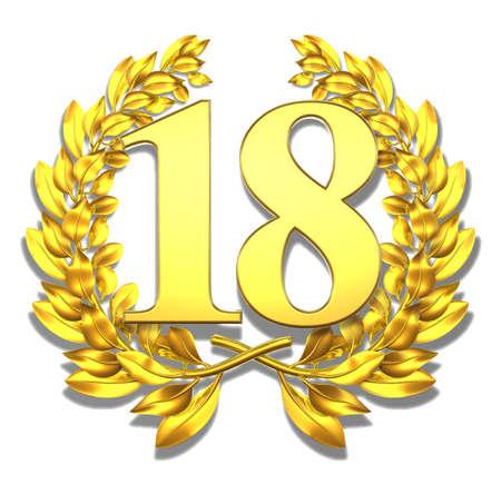 Number eighteen Golden laurel wreath with the number eighteen inside  photo