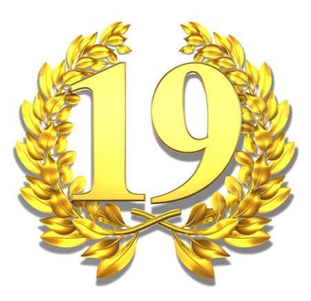 nineteen: Numero diciannove oro corona d'alloro con il numero diciannove all'interno Archivio Fotografico