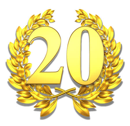 jubilation: Number twenty Golden laurel wreath with the number twenty inside