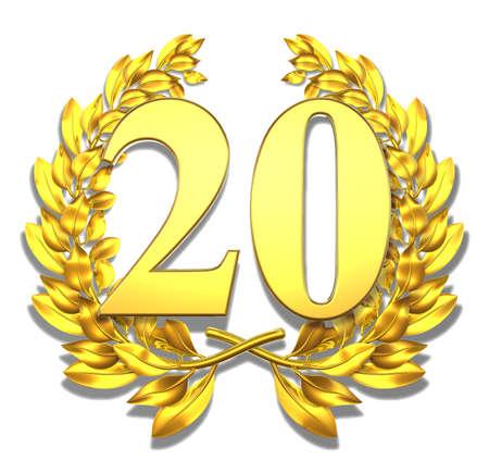 Number twenty Golden laurel wreath with the number twenty inside