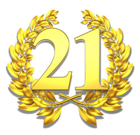 jubilation: Number twenty-one Golden laurel wreath with the number twenty-one inside  Stock Photo