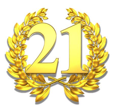 Number twenty-one Golden laurel wreath with the number twenty-one inside  Stock Photo