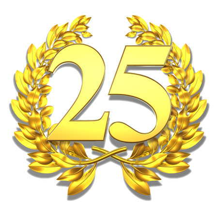 aniversario: N�mero veinticinco de oro corona de laurel con el n�mero veinticinco en el interior Foto de archivo