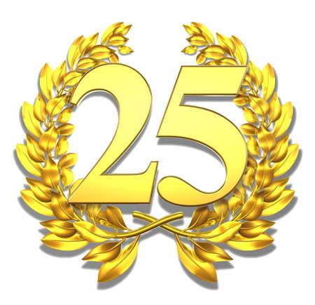 Num�ro vingt-cinq d'or couronne de laurier avec le num�ro vingt-cinq � l'int�rieur