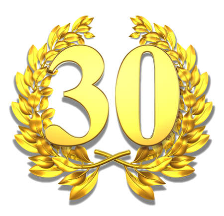 30 years: Number thirty Golden laurel wreath with the number thirty inside