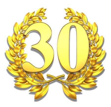 Or nombre de trente couronne de laurier avec le nombre de trente � l'int�rieur