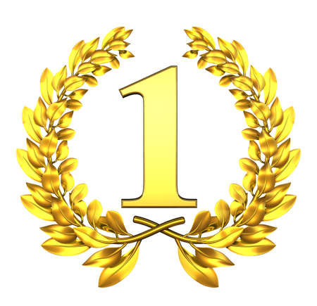first place: Congratulation one Golden laurel wreath with number one inside  Stock Photo