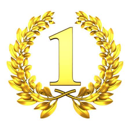 primer lugar: Enhorabuena una corona de laurel de oro con el número uno en el interior Foto de archivo