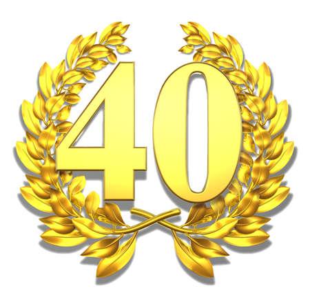 laureles: N�mero cuarenta de oro corona de laurel con el n�mero cuarenta en el interior