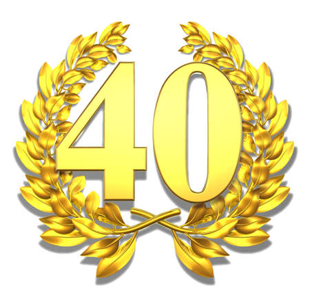 Number forty Golden laurel wreath with the number forty inside