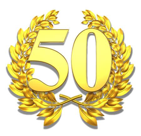 number 50: N�mero cincuenta y corona de laurel de oro con el n�mero cincuenta en el interior
