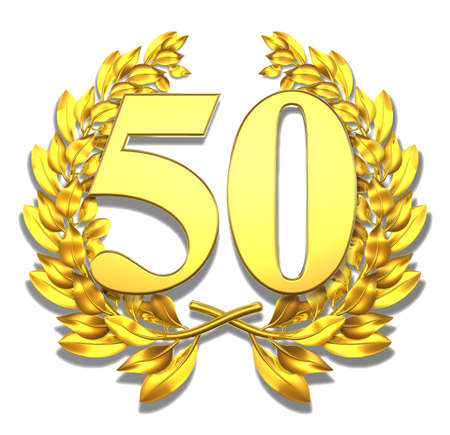 jubilation: Number fifty Golden laurel wreath with the number fifty inside