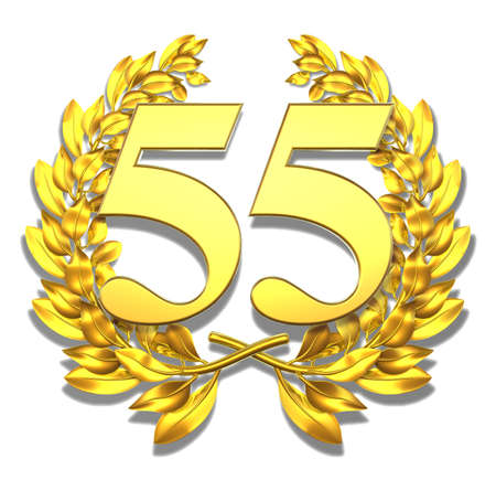 50 55: Number fifty-five Golden laurel wreath with the number fifty-five inside