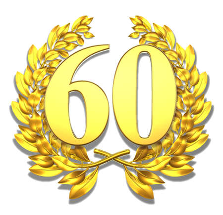 Number sixty Golden laurel wreath with the number sixty inside
