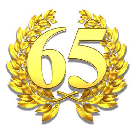 Number sixty-five Golden laurel wreath with the number sixty-five inside
