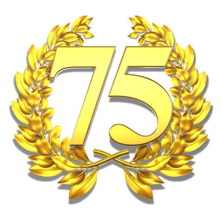 Nombre 75 d'or couronne de laurier avec le num�ro 75 � l'int�rieur Banque d'images