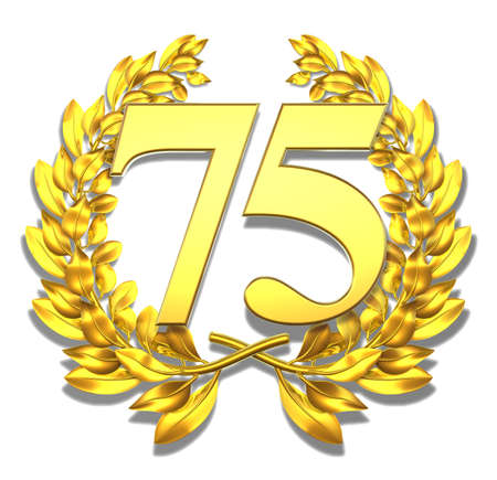 jubilation: Number seventy-five Golden laurel wreath with the number seventy-five inside